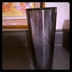 Chrome & Black Glitter Starbucks Cup